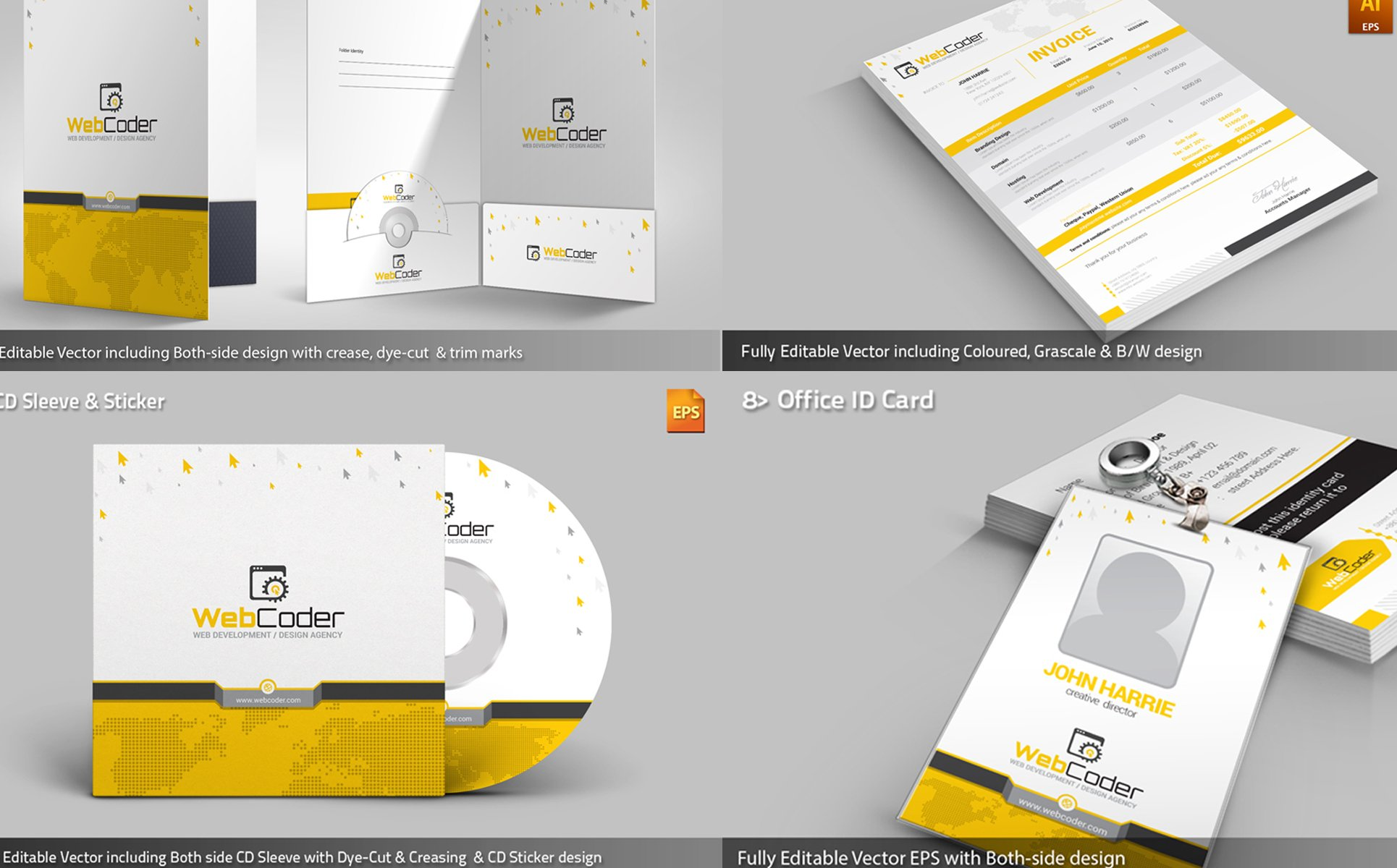 Web Design Agency Stationery Mega Branding Bundle Corporate Identity ...