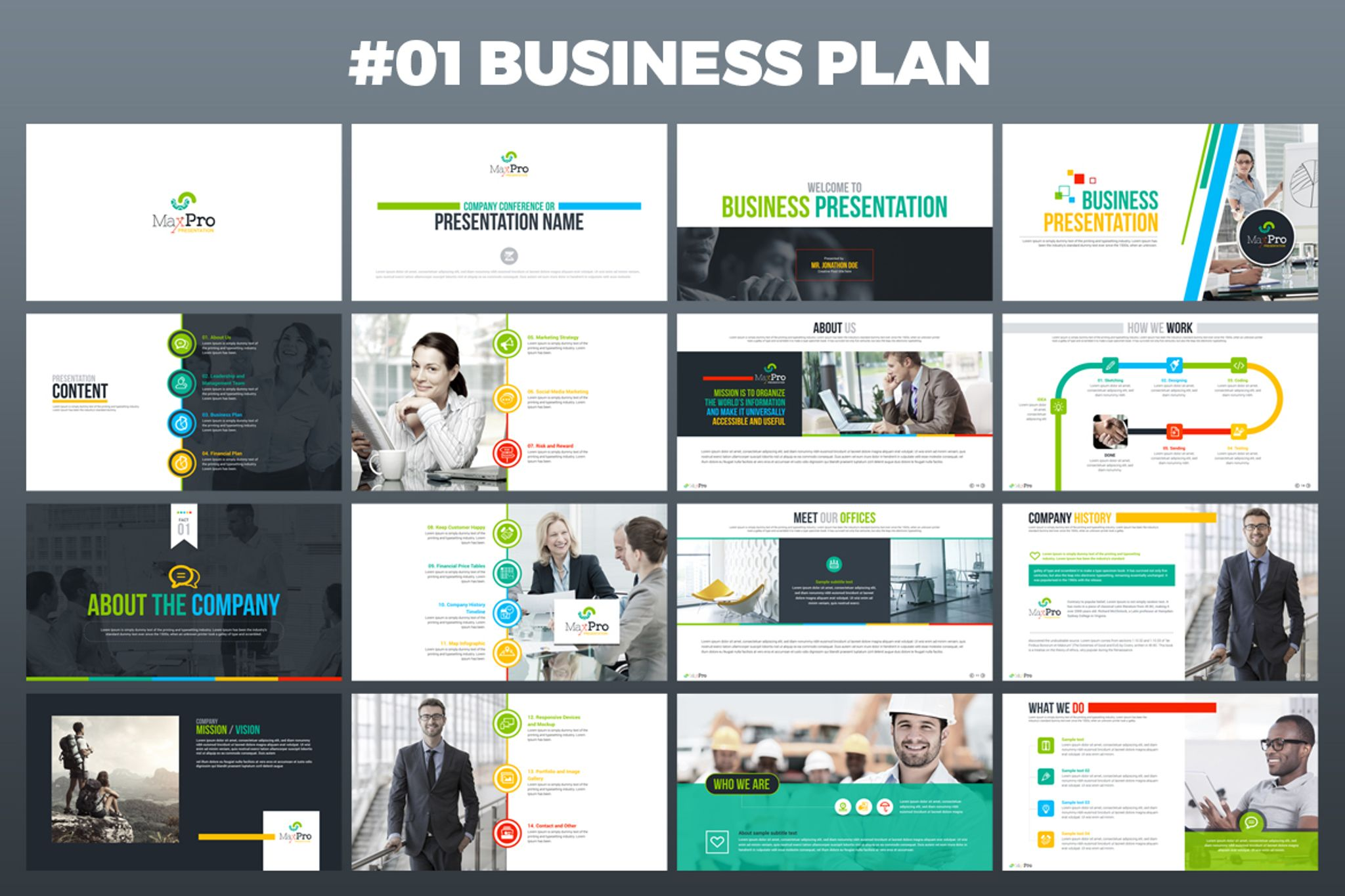maxpro business plan powerpoint template 66751