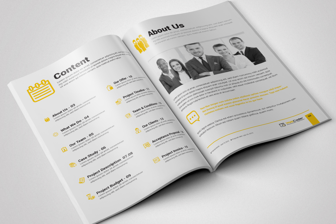 web proposal for web design and development agency