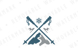 Mountain Ski Slope Logo Template