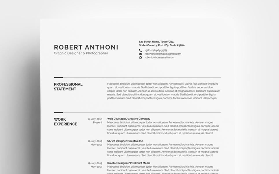 Clean Resume Designer Developer Photographer Resume Template 67893