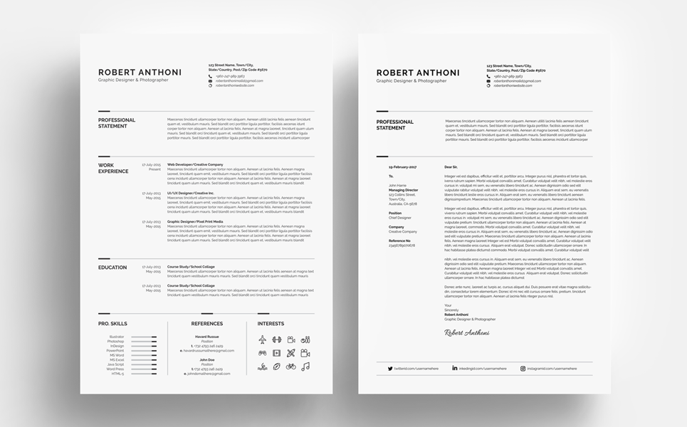Clean Resume - Designer/Developer/Photographer Resume Template #67893
