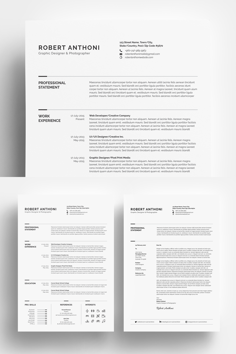 Clean Resume Designerdeveloperphotographer Resume Template 67893