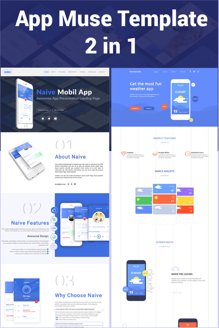 App 2 in 1 Muse Template #66171