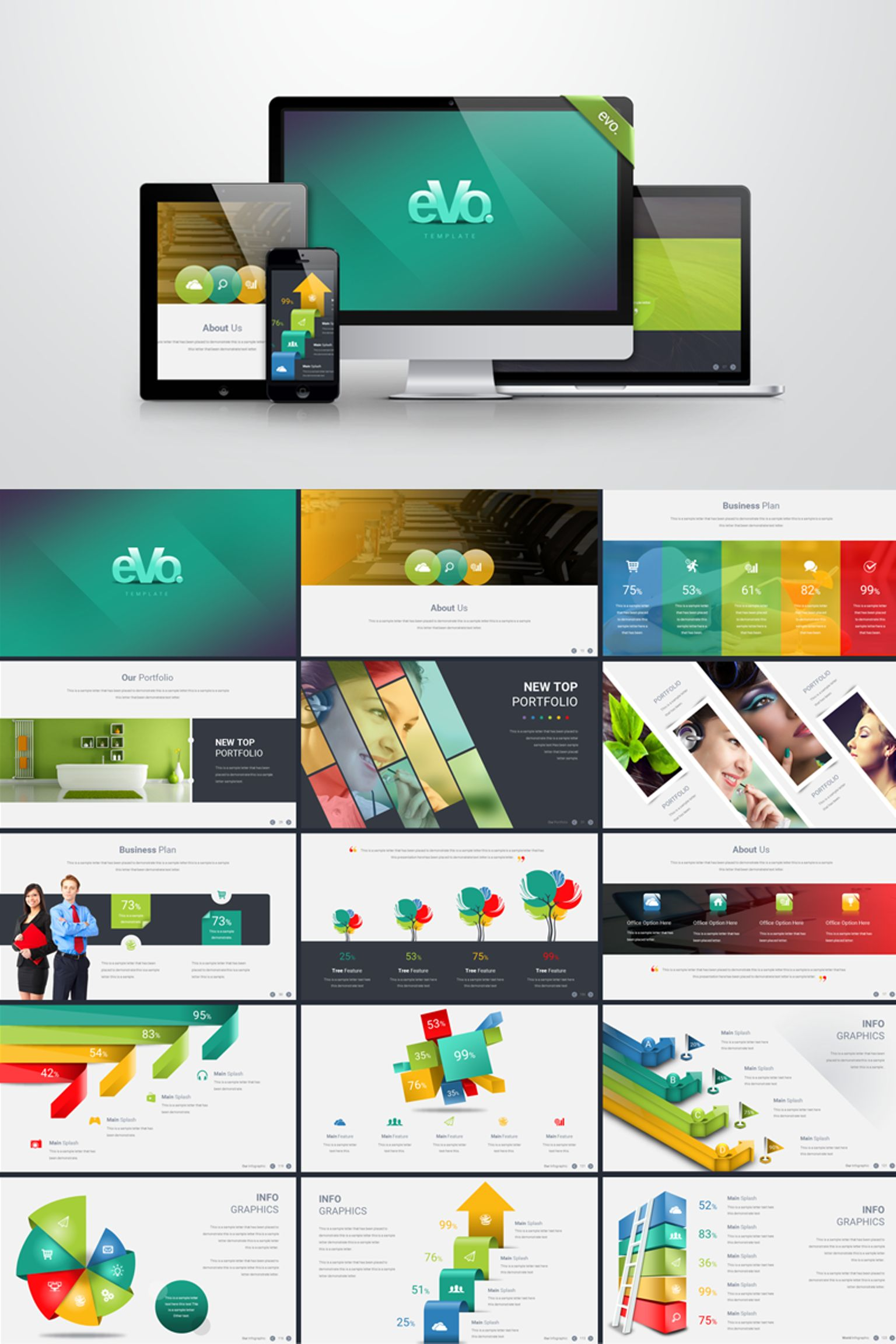 business plan with 3d infographics powerpoint template big screenshot - 53 Powerpoint Template For Business Final