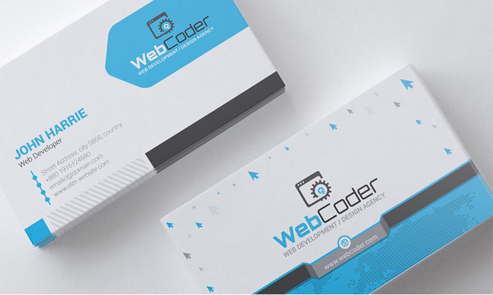 business card design for web design and developer psd template 66306