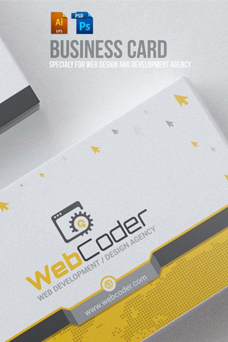 Business card design for web design and developer psd template 66306 wajeb
