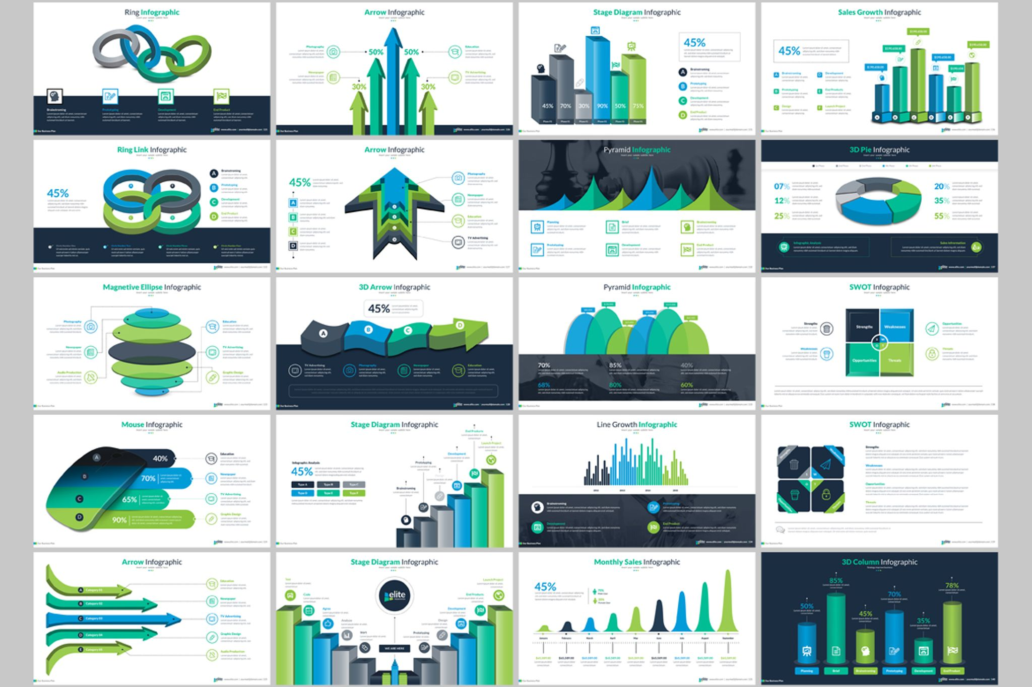 business infographic presentation powerpoint template #66340, Powerpoint templates