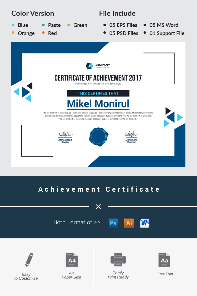 Achievement Certificate Template 66228