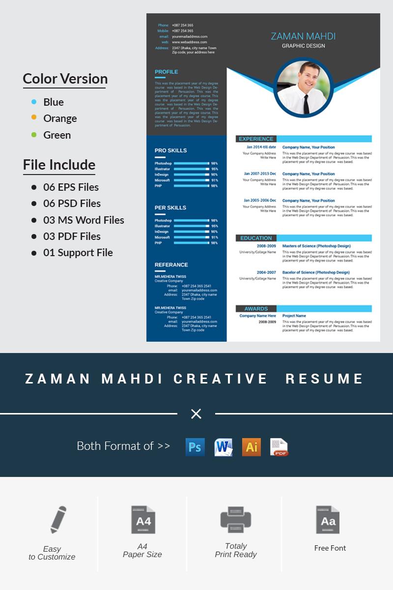Sablona Pro Zivotopis Zaman Mahdi Creative 66288