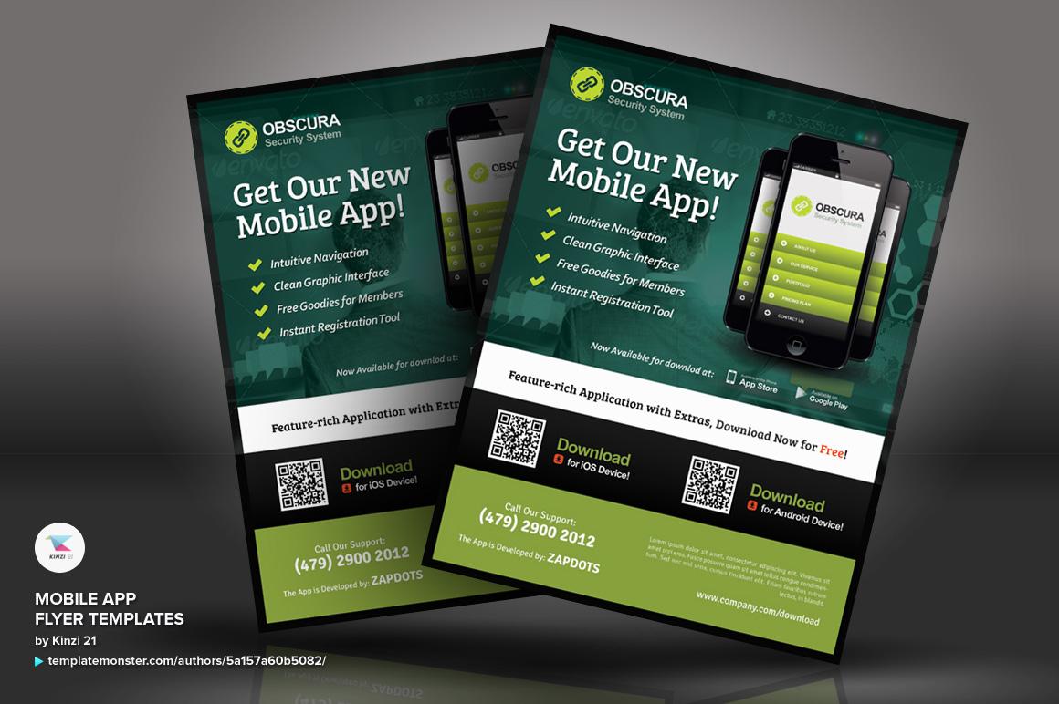 mobile app flyer psd template 66250