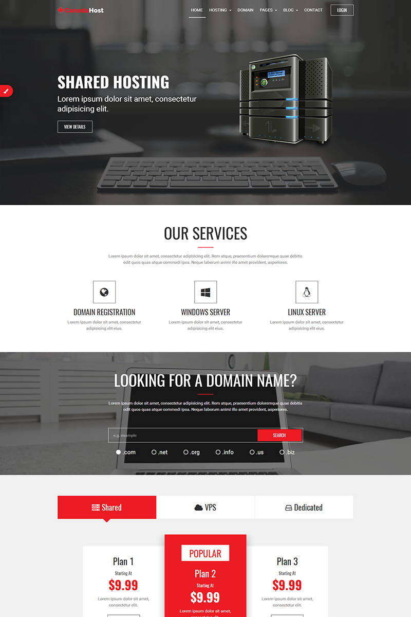 CanadaHost | Responsive HTML5 Web Hosting and WHMCS Website ...