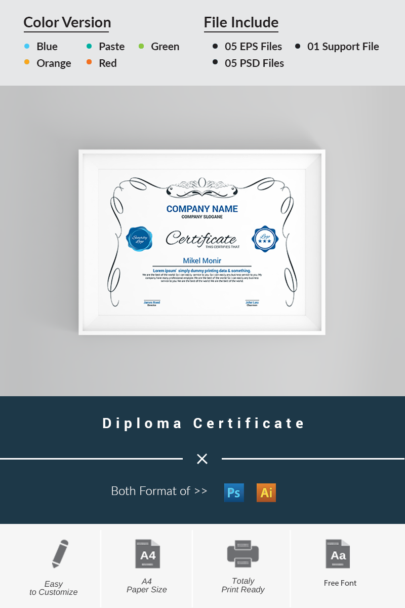 Diploma Certificate Template 66279