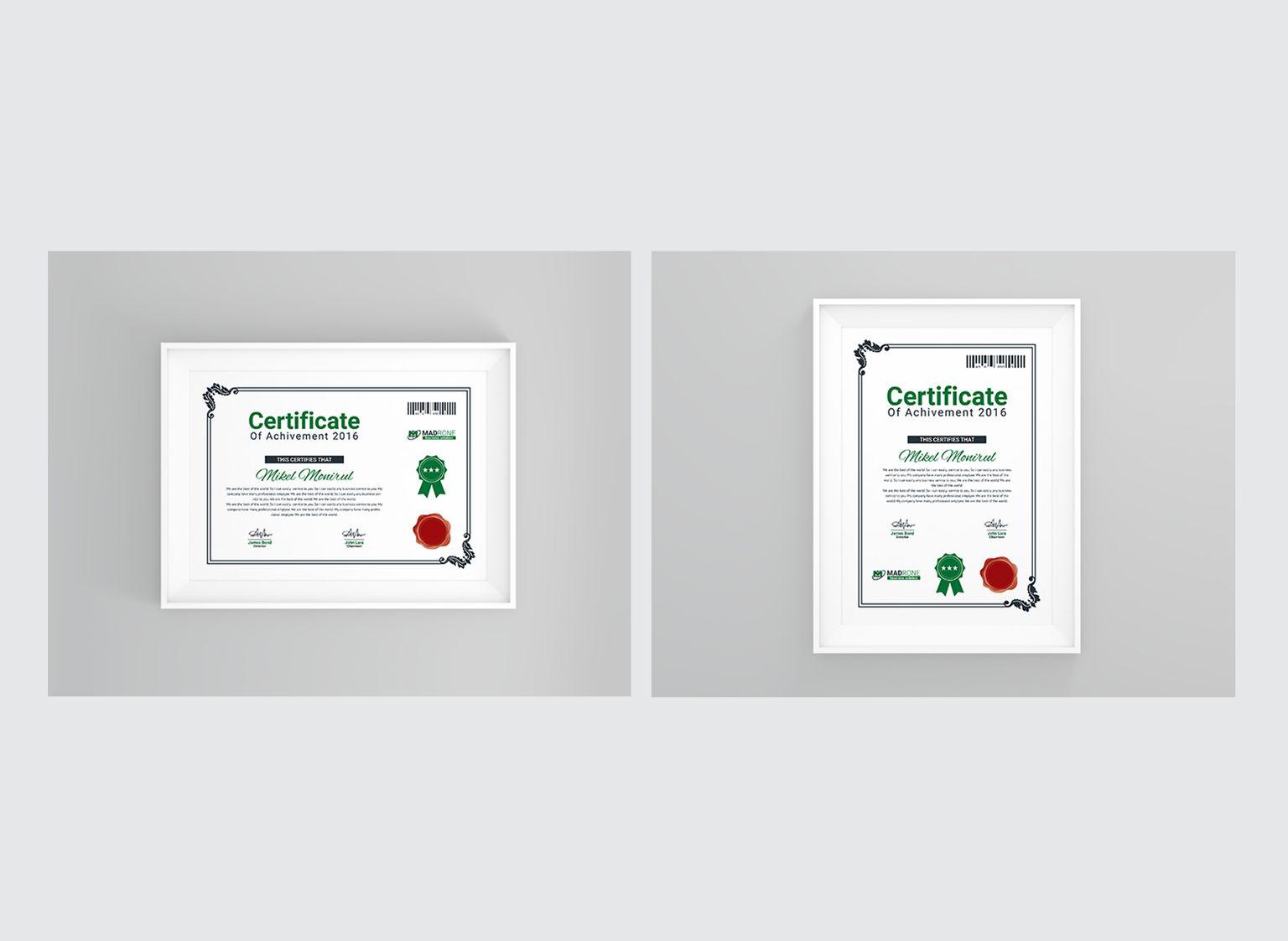 Zertifikat-Vorlage #66254 für Büro