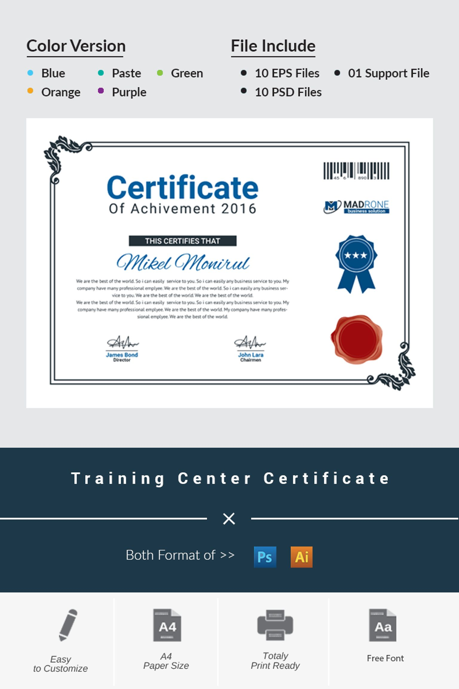 Training Center Certificate Template Big Screenshot  Certificate Of Training Template