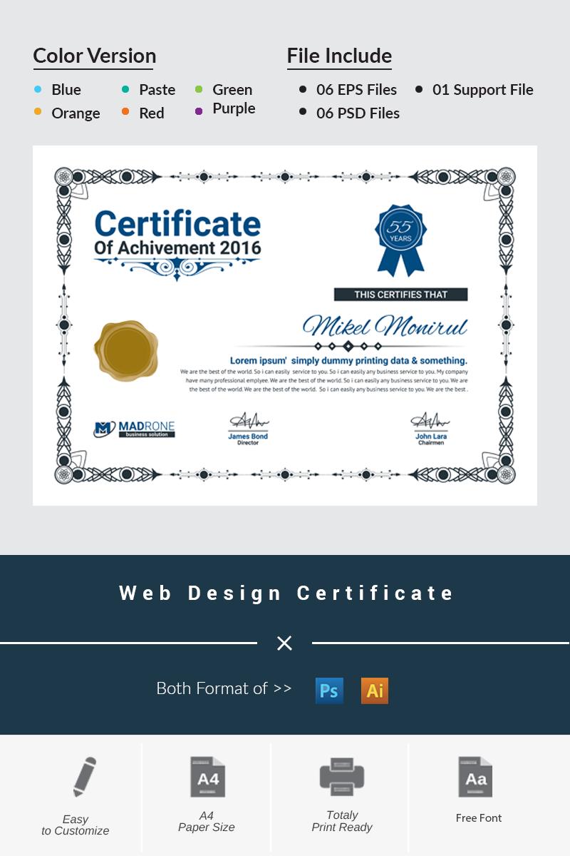 Web design certificate template 66276 yelopaper Choice Image