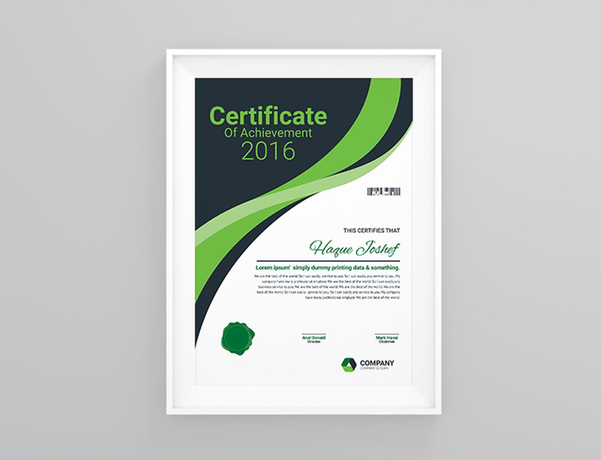 Zertifikat-Vorlage #66464 für Büro