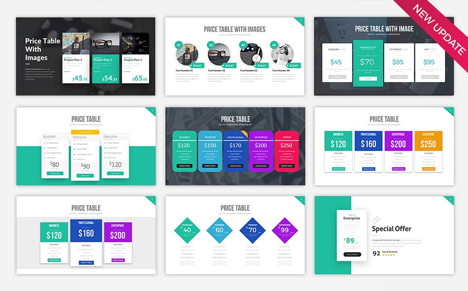 Price Table V2 Powerpoint Template 68380
