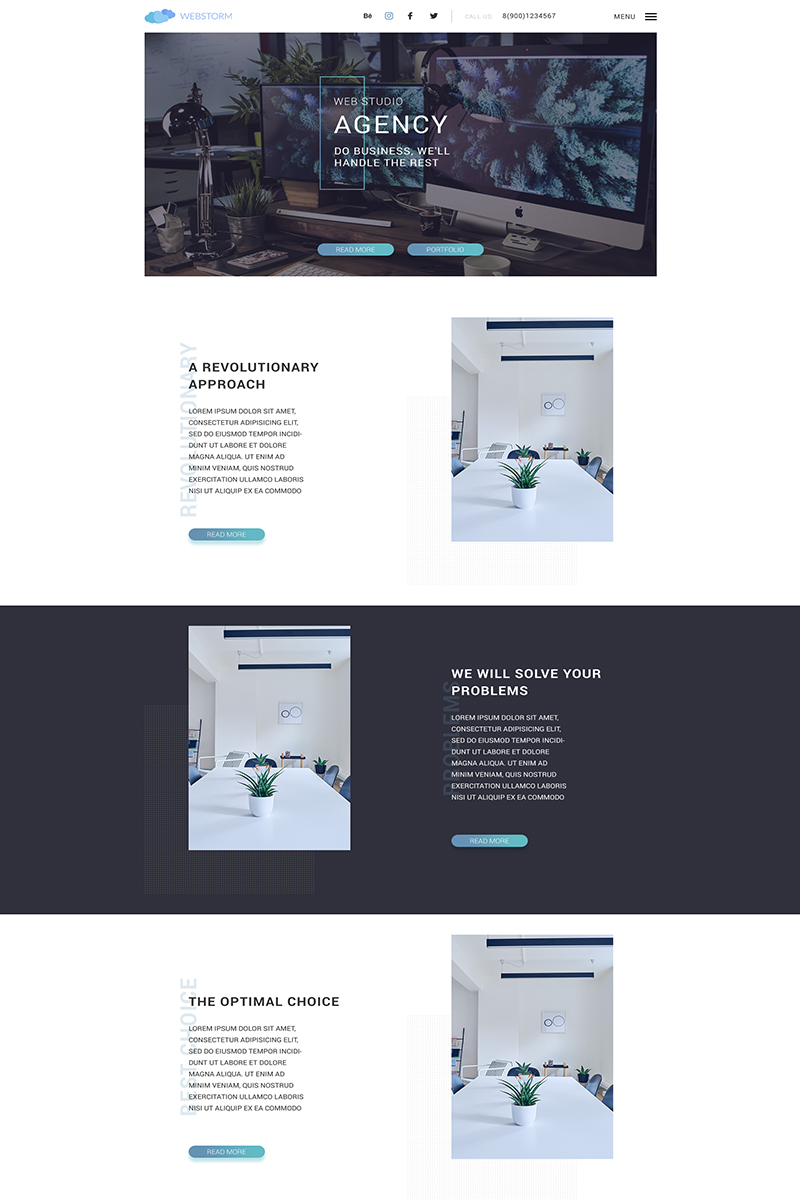 Landing page - Agency PSD Template #66271