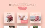 Pink Peach Social Media Designs PSD Template