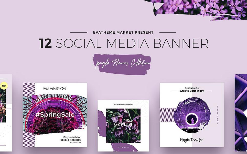 purple flowers social media designs psd template big screenshot zoom in