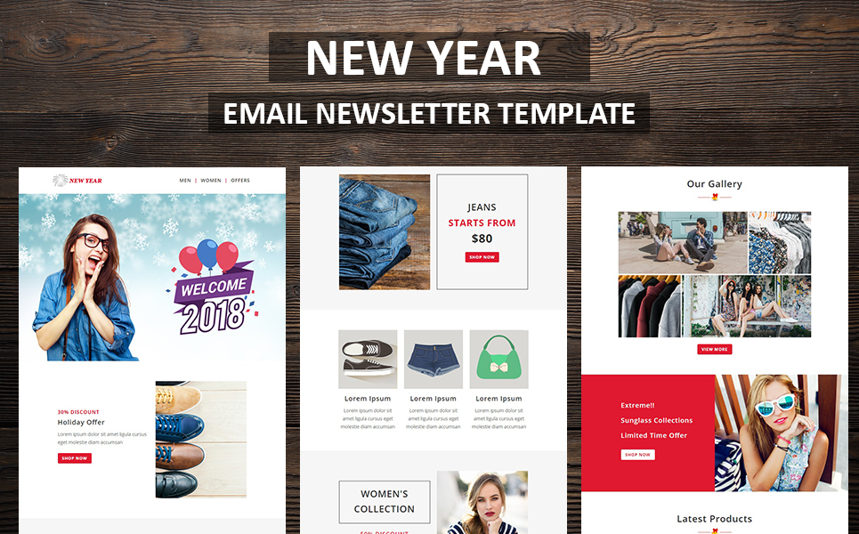new year email newsletter template big screenshot zoom in live demo
