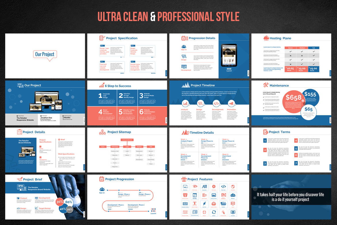 web design & development - project proposal powerpoint template #66476, Presentation templates