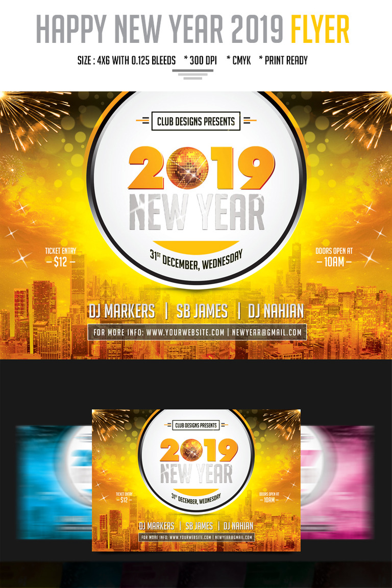 new year party flyer 2019 psd template big screenshot