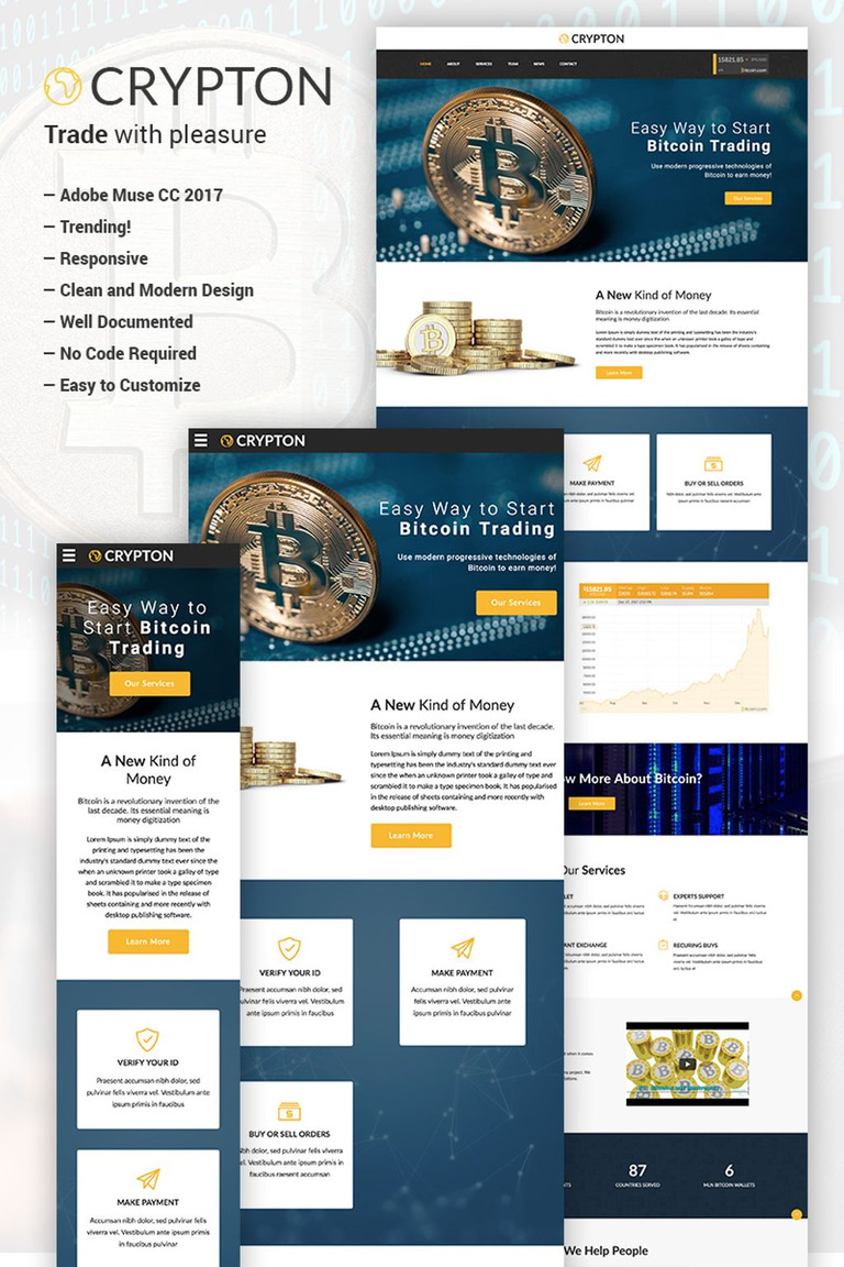 Crypton - Bitcoin and Cryptocurrency Muse Template #66473