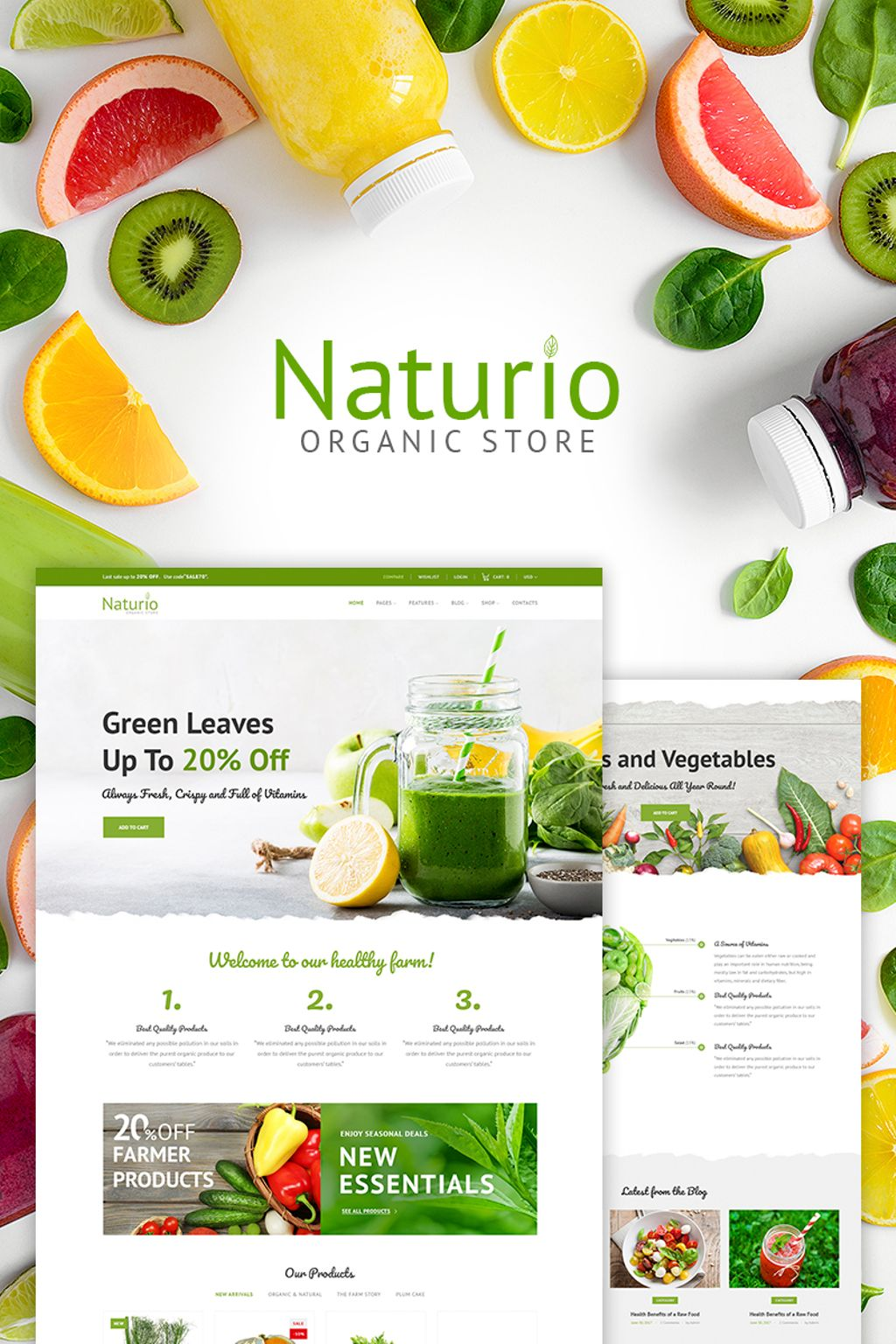 naturio food store template elementor woocommerce theme 66344