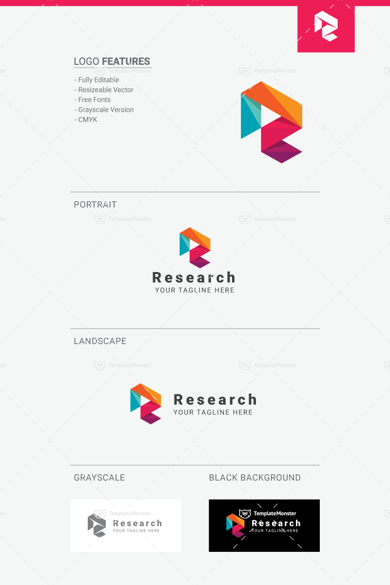Research letter r logo template 66488 research letter r logo template spiritdancerdesigns Image collections