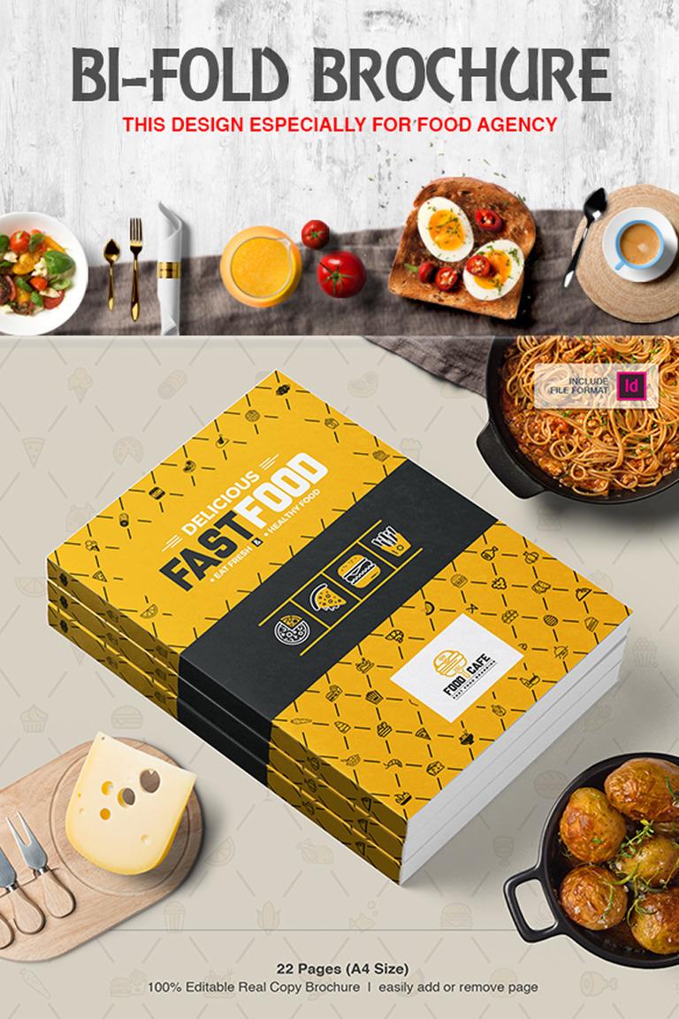 Fast Food Restaurant BiFold Brochure Corporate Identity - Fresh virtual museum template design