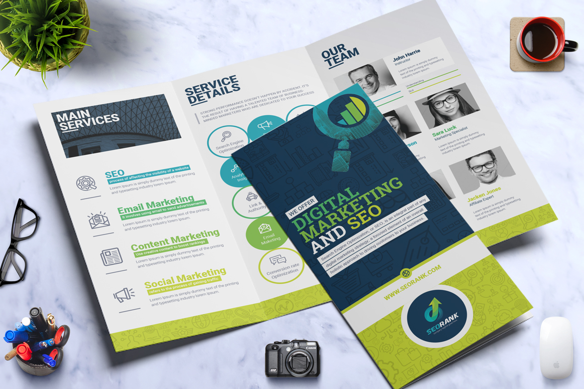 seo digital marketing agency tri fold brochure corporate