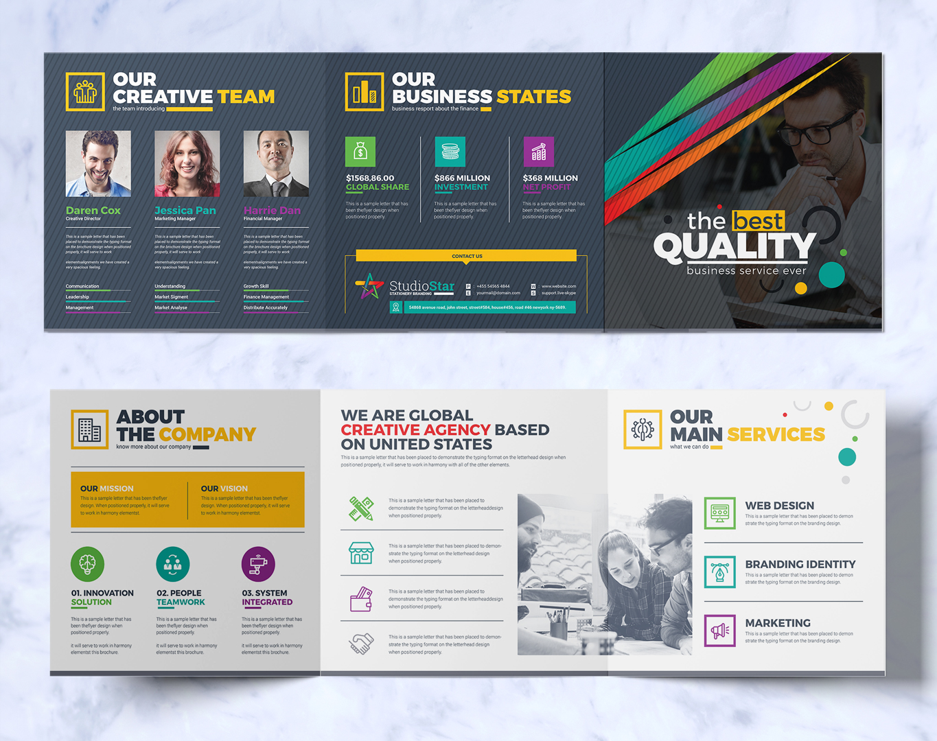 zoom in add to collection tri fold brochure design template