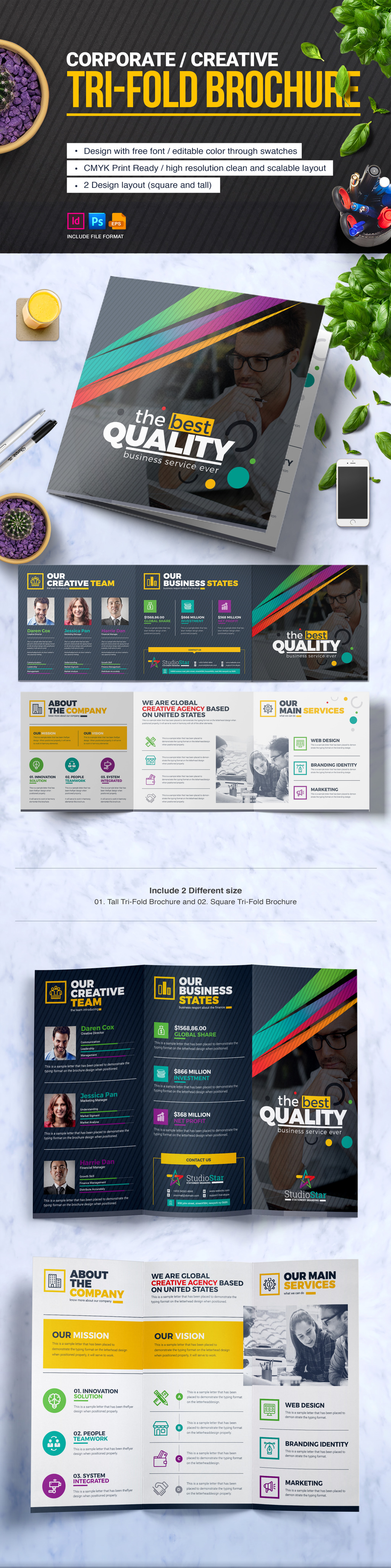 TriFold Brochure Design Template  Square And Tall Version