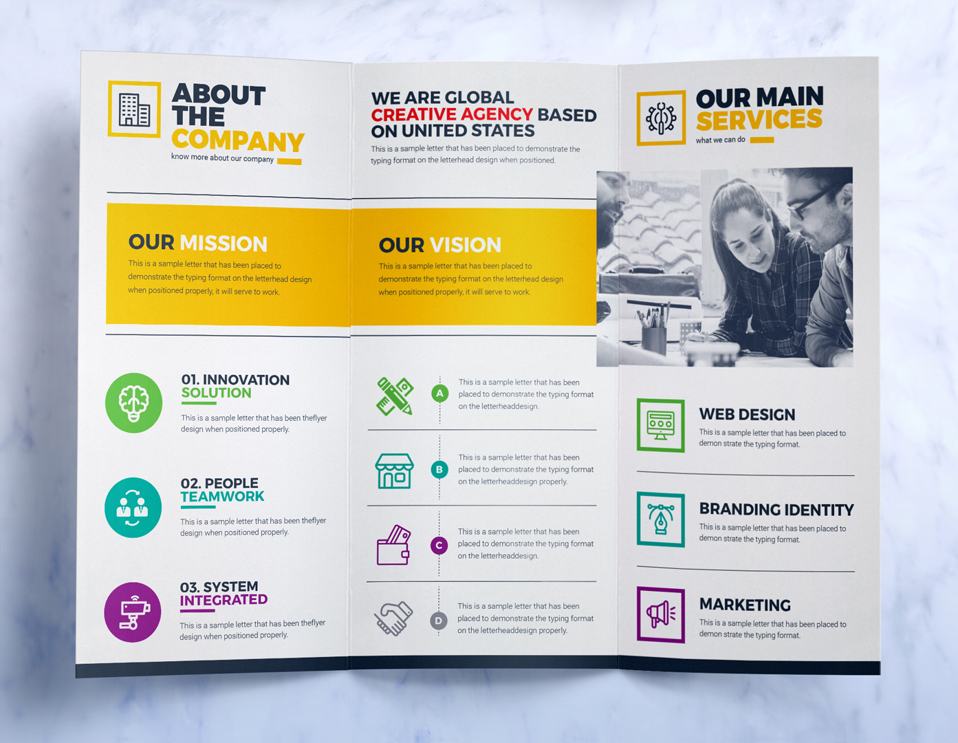 TriFold Brochure Design Template Square And Tall Version - Brochure design templates