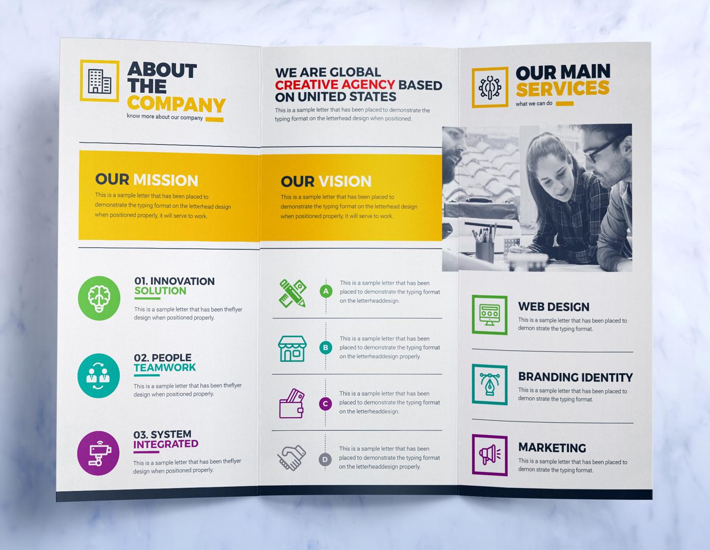 Tri-Fold Brochure Design Template : Square and Tall Version ...