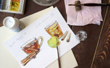 Watercolor tea - 2 vector set Illustration