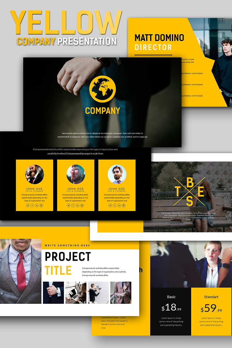 Yellow company business presentation powerpoint template 66837 toneelgroepblik Choice Image