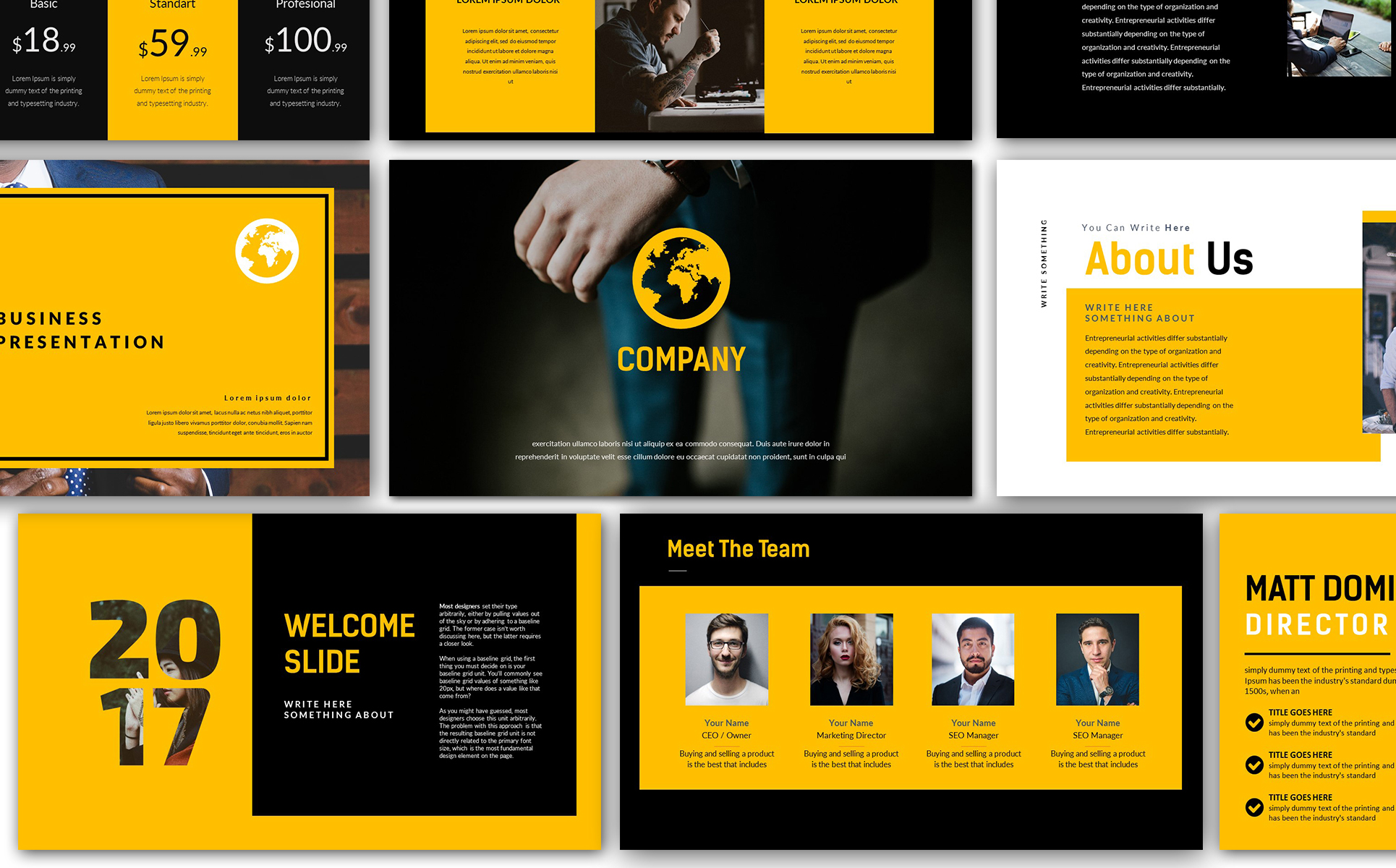 Yellow company business presentation powerpoint template 66837 yellow company business presentation powerpoint template big screenshot flashek Images