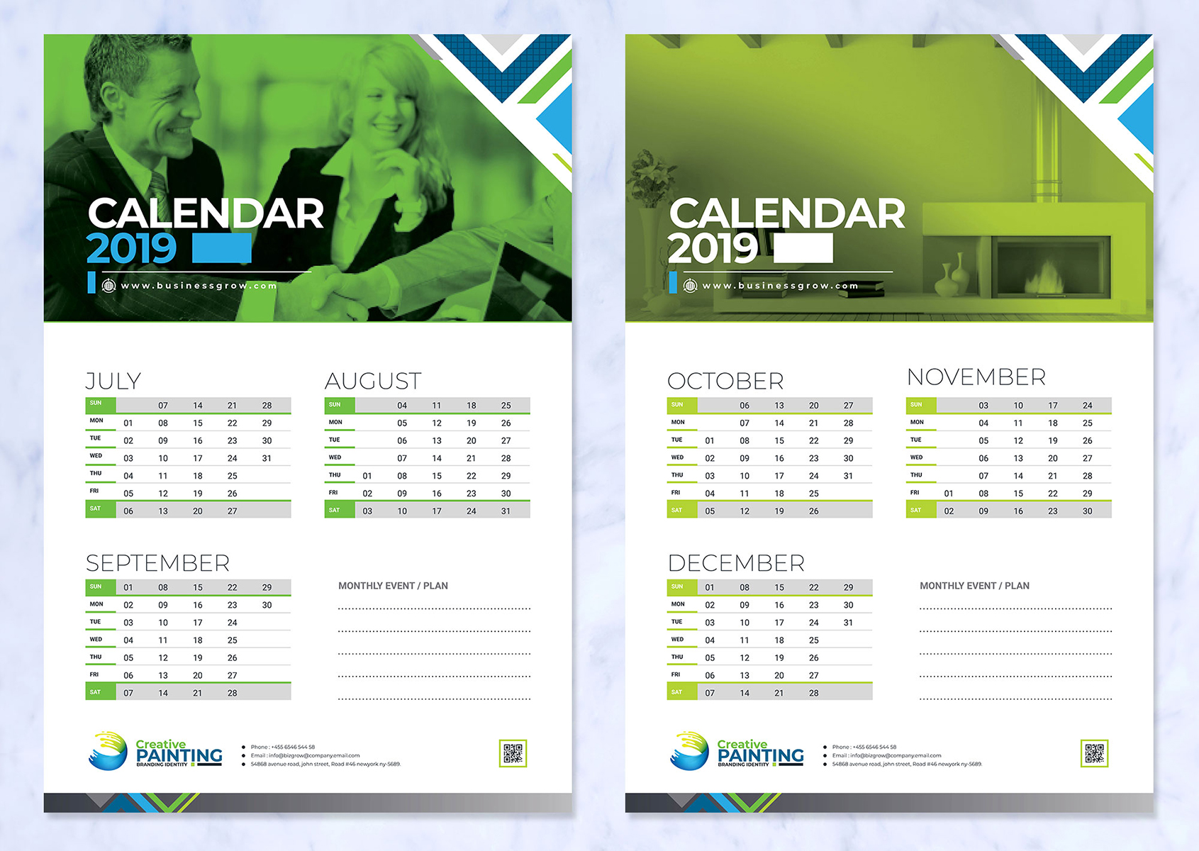 2019 Wall And Desk Calendar Design Corporate Identity