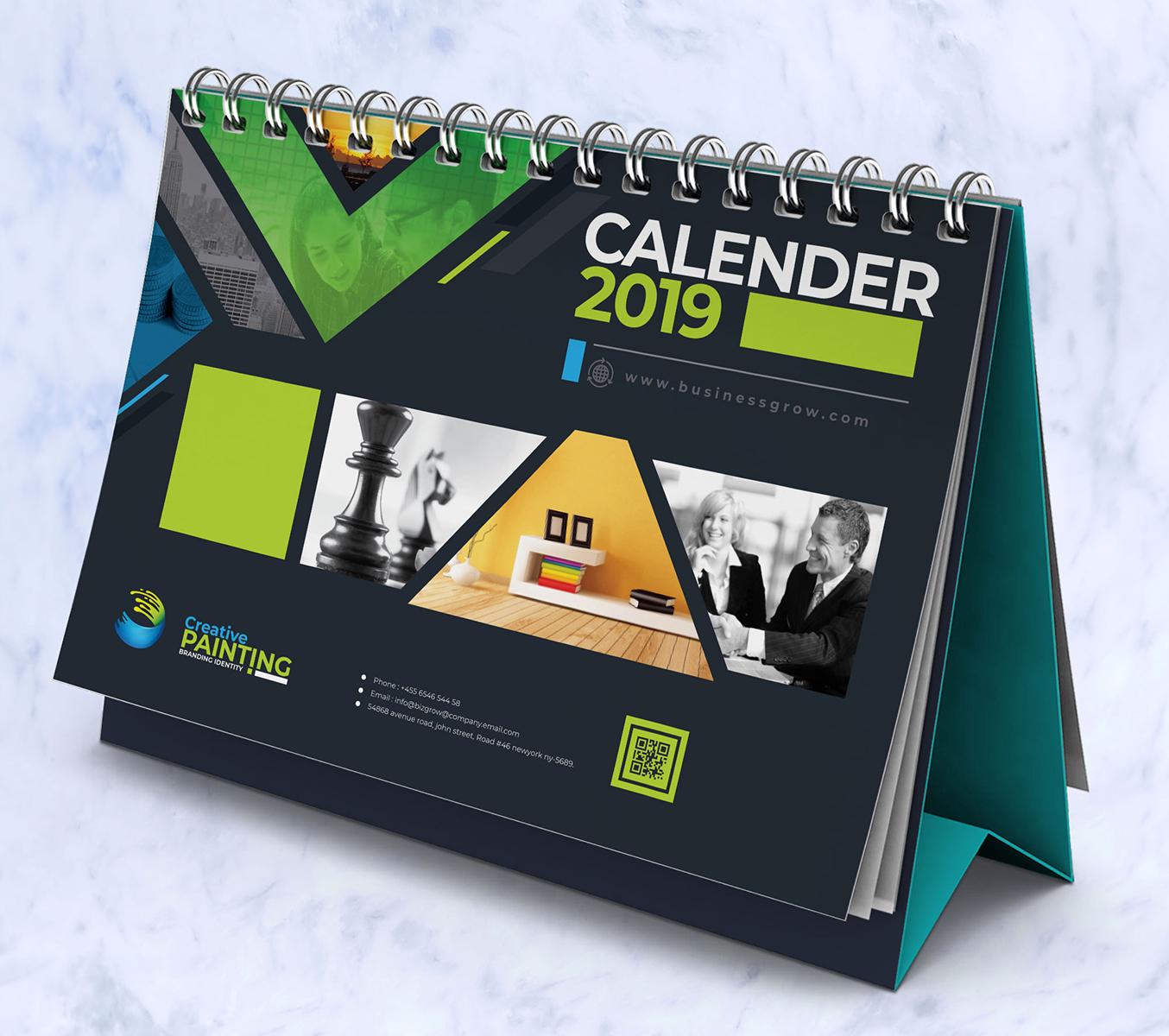 2019 wall and desk calendar design corporate identity template  66146