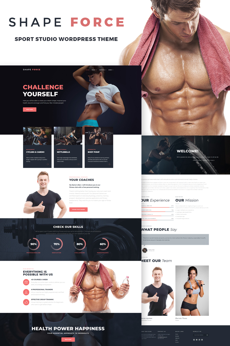 shapeforce sport studio wordpress theme 66818