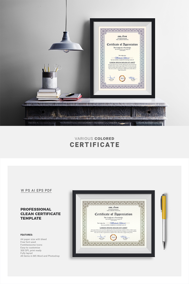 Corporate U0026 Modern Word Multipurpose Certificate Template  Corporate Word Templates