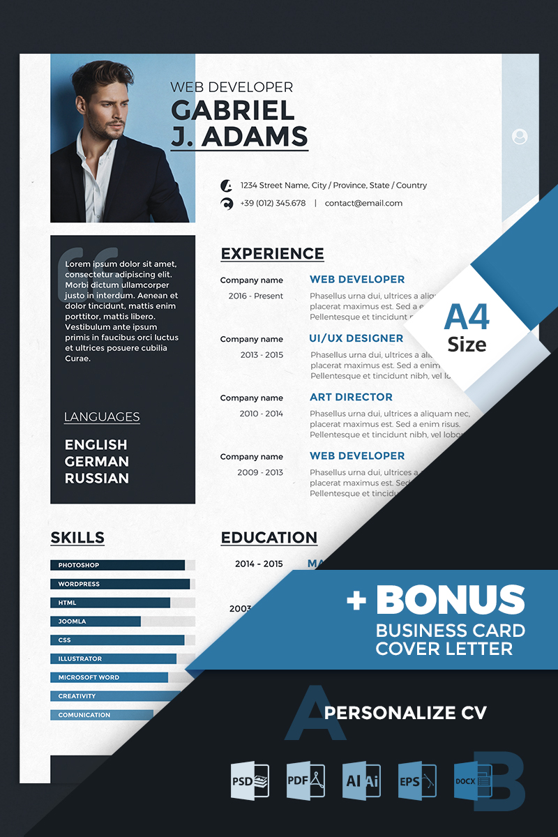gabriel j adams web developer resume template 66834