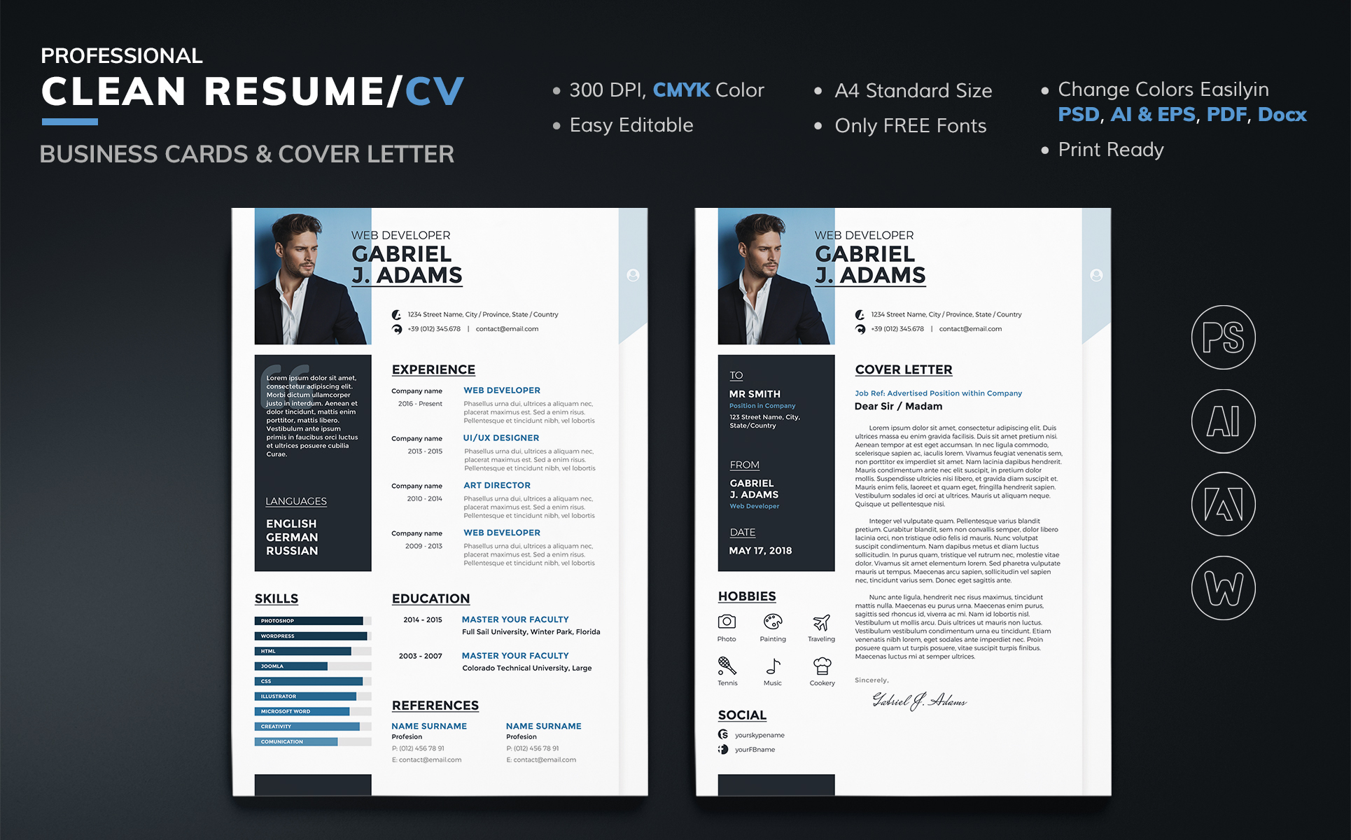 Gabriel J Adams   Web Developer Resume Template Big Screenshot