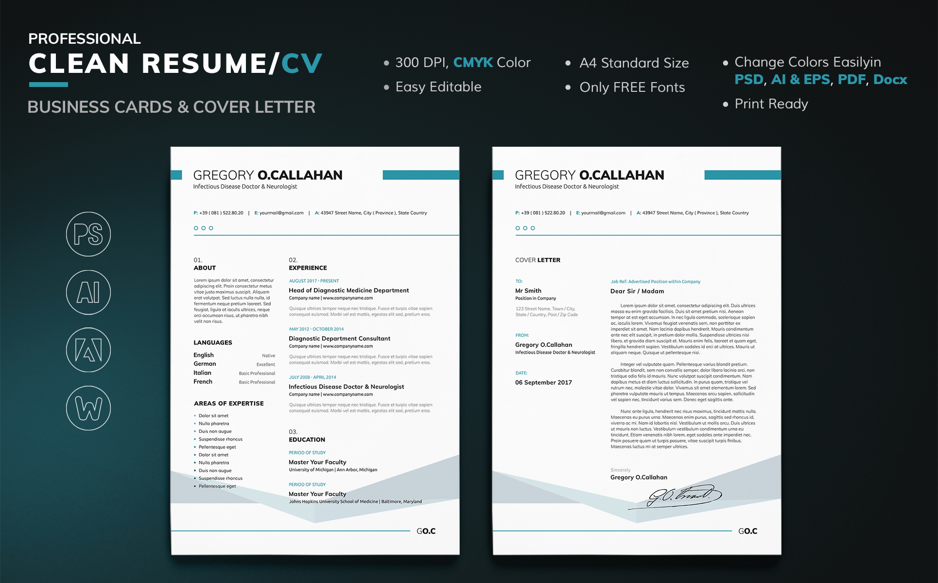 Infectious Disease Doctor & Neurologist Resume Template #66835