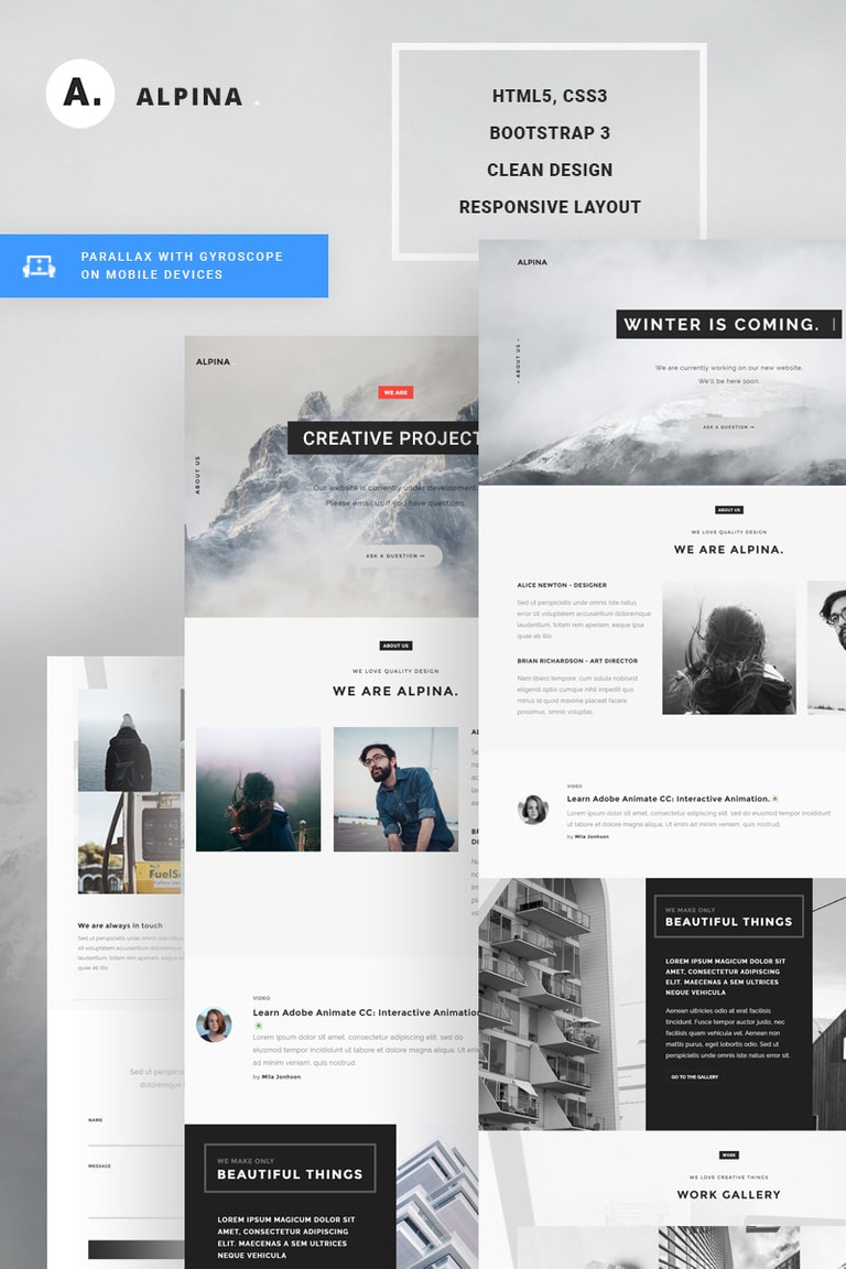 Alpina - Creative Project Landing Page Template #67503