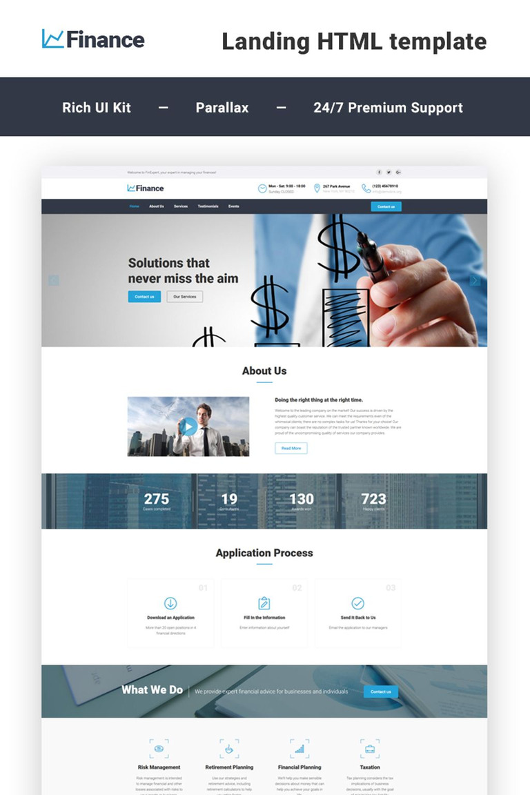 Finance Financial Advisor Html5 Landing Page Template New Screenshots