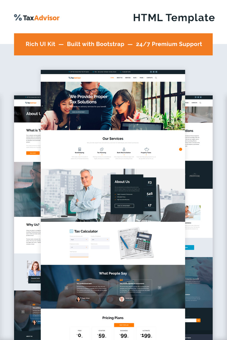 Financial Advisor Multipage Website Template - Tax website templates